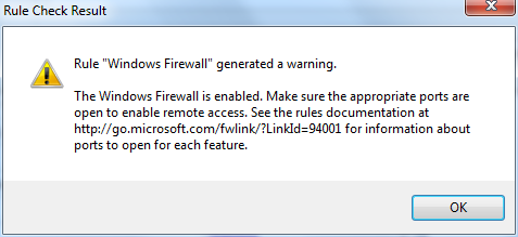 the Windows Firewall is enabled SQL Server 2012 setup