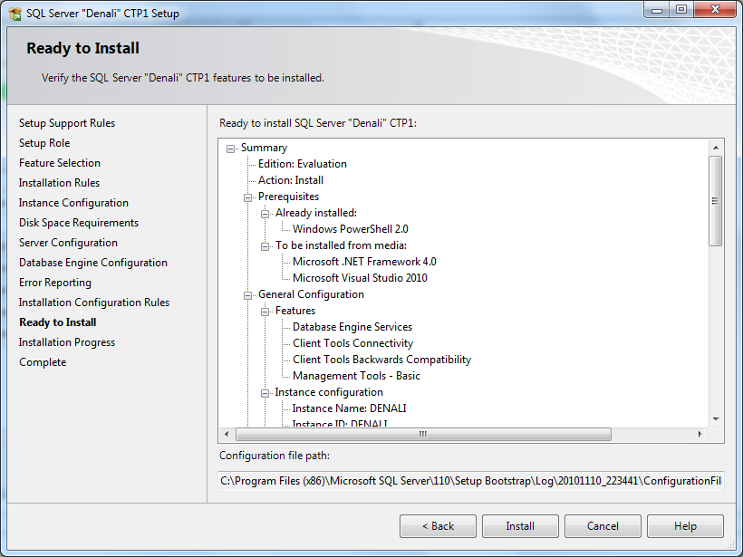 verify SQL Server 2012 features to install