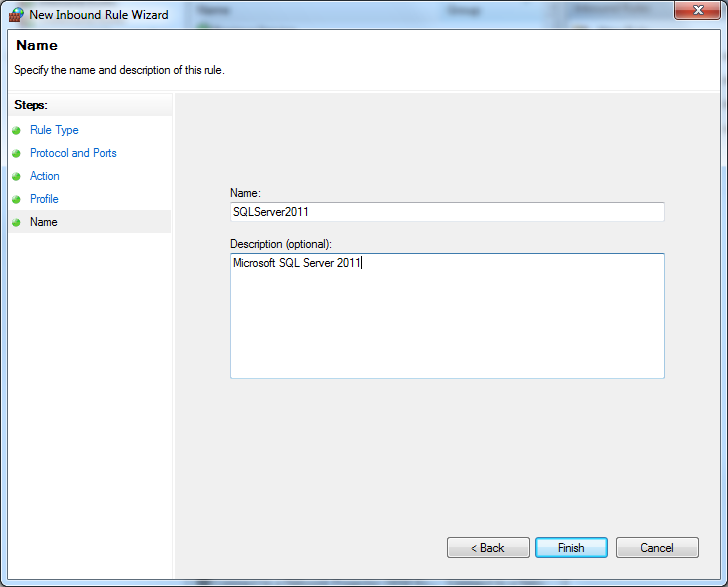 Windows Firewall inbound rule name for SQLServer 2012