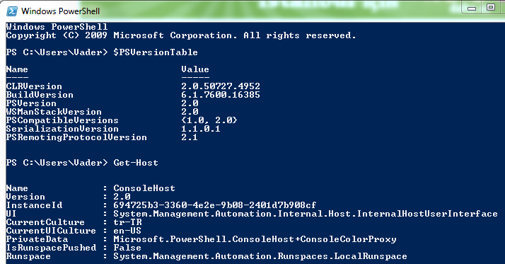 Windows Powershell version check