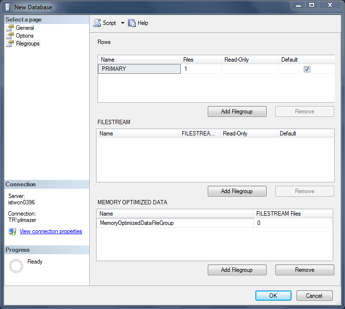 memory optimized data filegroup in SQL Server 2014