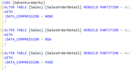 database table compression scripts in SQL Server