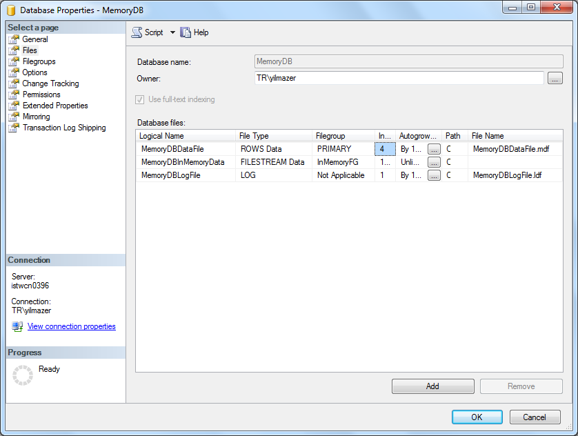 SQL Server 2014 in-memory database data files