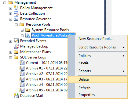 delete resource pool using SQL Server Management Studio