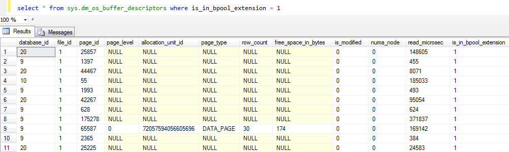 SQL Server sys.dm_os_buffer_descriptors DMV for buffer pool data
