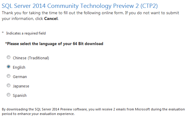 Download SQL Server 2014 free evaluation CTP2 release