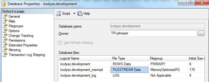 SQL Server 2014 database filestream file for memory optimized table
