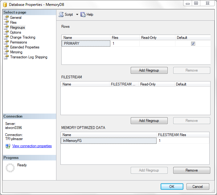 in-memory database file groups of a SQL Server 2014 database