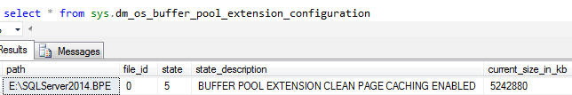 Query buffer pool extension files in SQL Server 2014