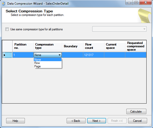 select compression type for table partition in SQL Server 2014