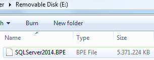 SQL Server 2014 buffer pool extension file on removable disk