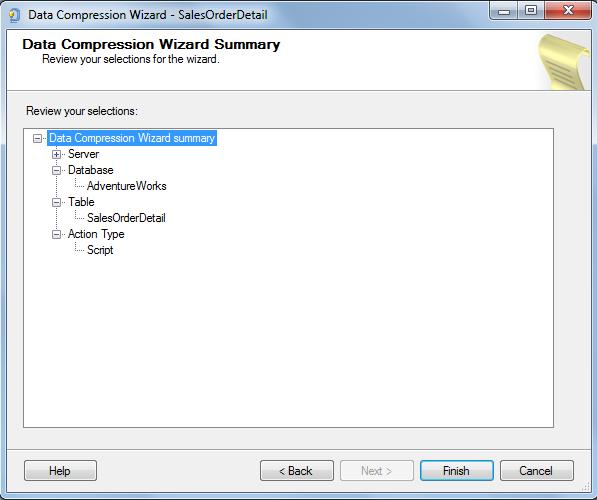 SQL Server 2014 Data Compression Wizard Summary