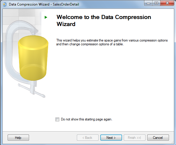 SQL Server 2014 Data Compression Wizard