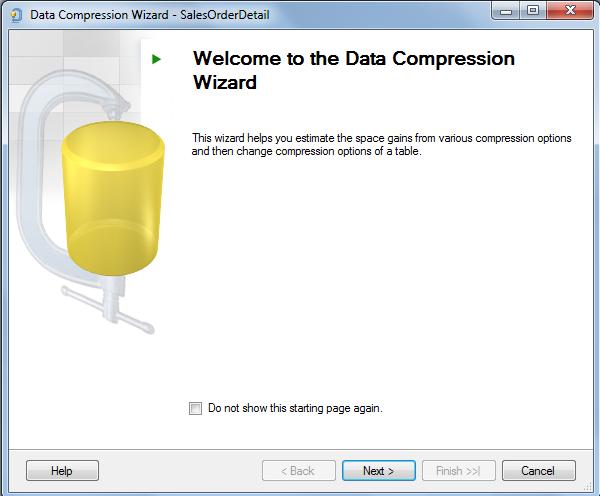 SQL Server 2014 Data Compression Wizard