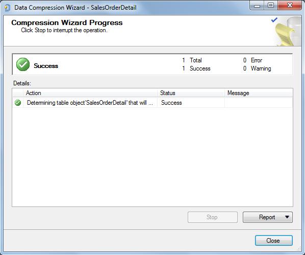 SQL data compression progress screen