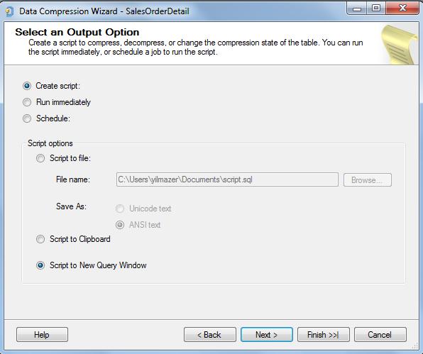 SQL Server database table compression script output options