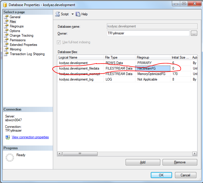 SQL Server 2014 FileStream data file