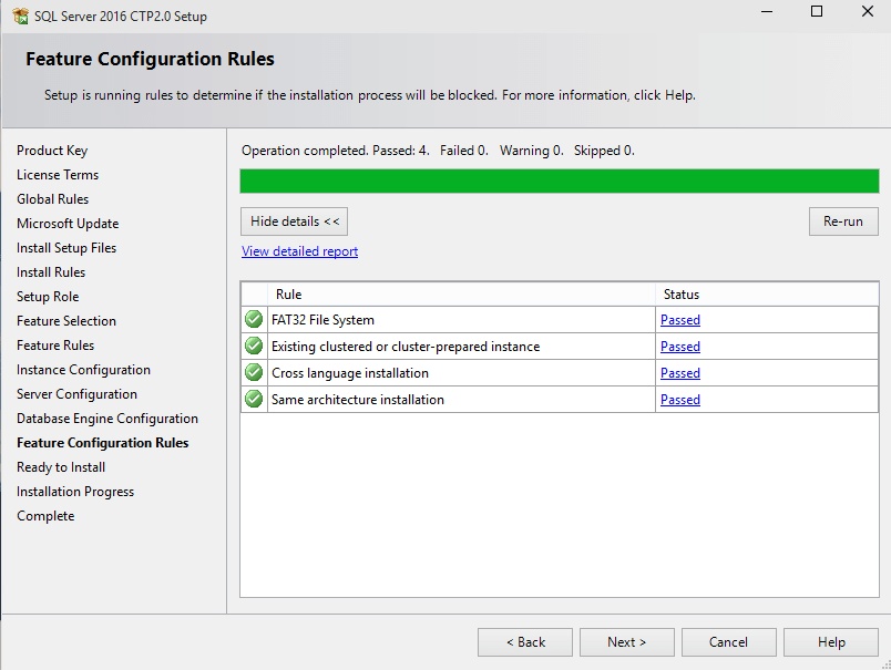 SQL Server feauture configuration rules