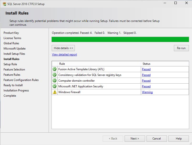 install rules for SQL Server 2016 setup