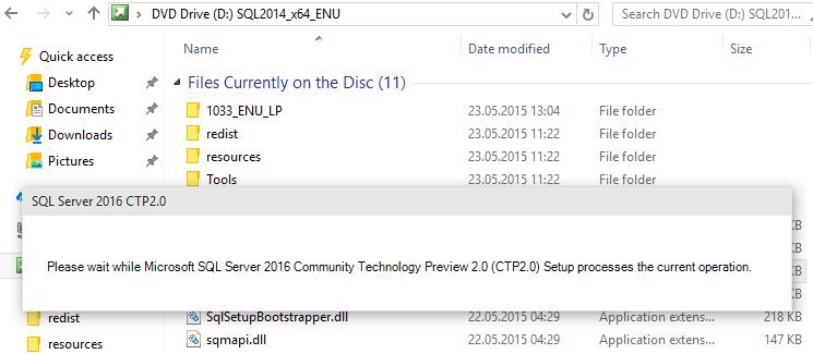 launch SQL Server 2016 setup wizard