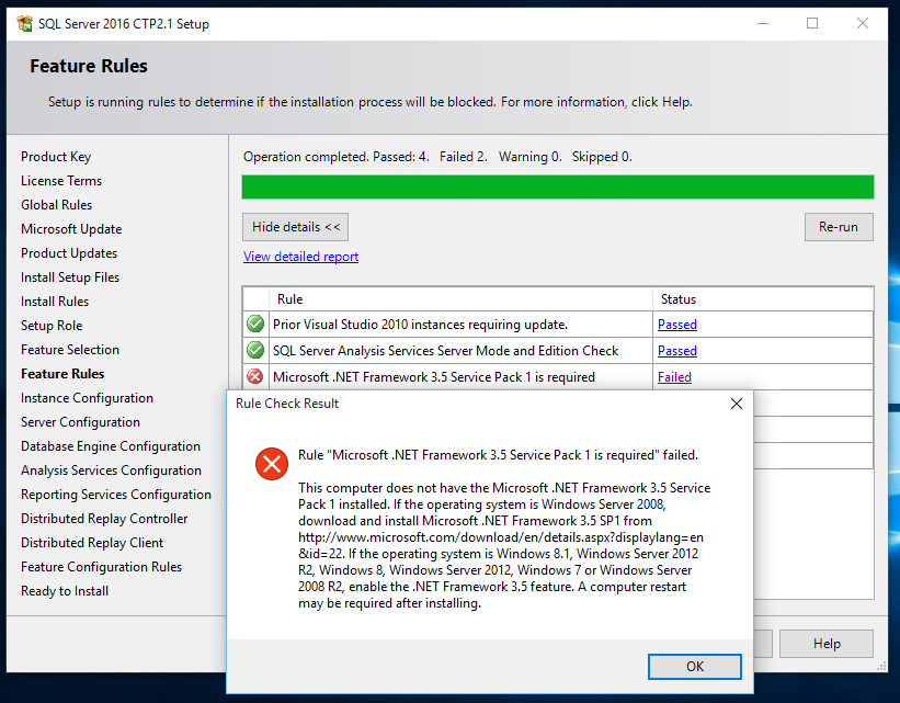 Microsoft .NET Framework 3.5 Service Pack 1 is required for SQL Server 2016 installation