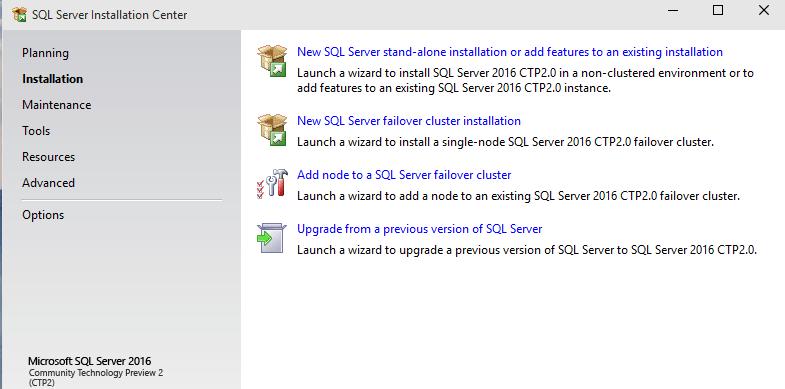 new SQL Server 2016 installation