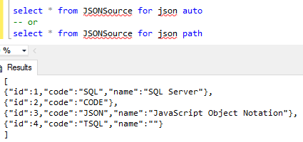 SQL Server for json auto and for json path