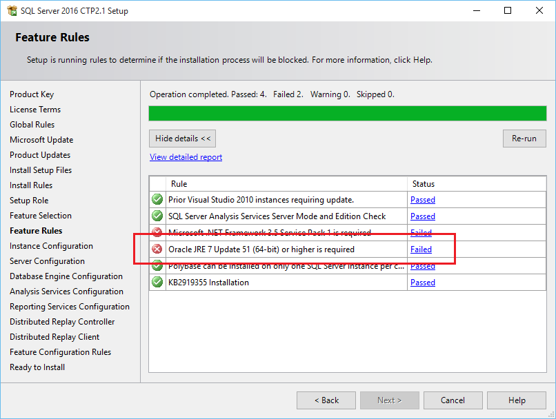 SQL Server 2016 feature rules for installation