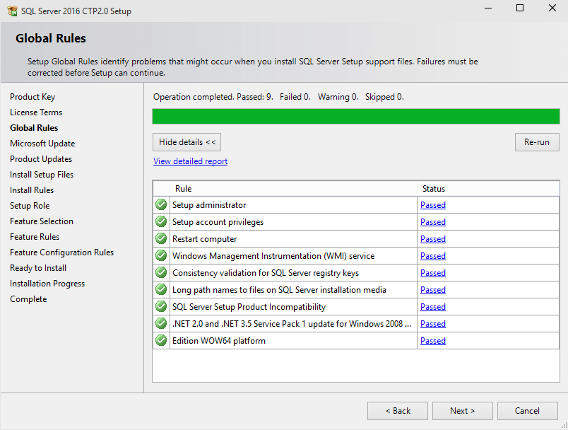 SQL Server 2016 setup support files rules check
