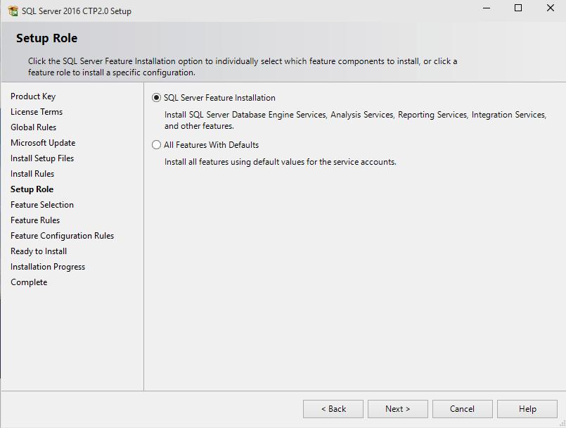 SQL Server 2016 setup role