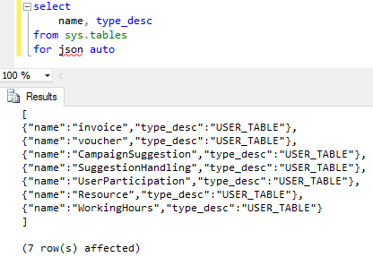 SQL Server 2016 SELECT  query with For JSON Auto option