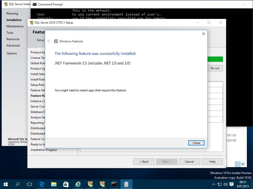 Microsoft .NET Framework 3.5 Service Pack 1 for SQL Server 2016 setup