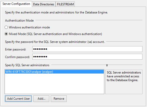 SQL Server authentication mode