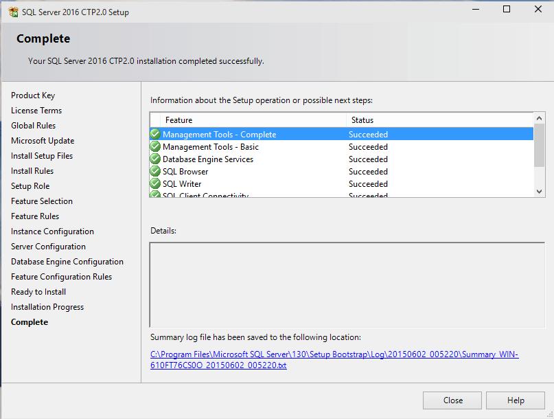 SQL Server 2016 installation completed