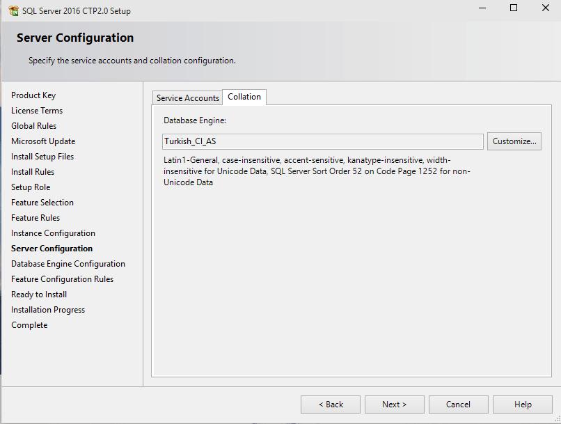 SQL Server 2016 Database Engine collation
