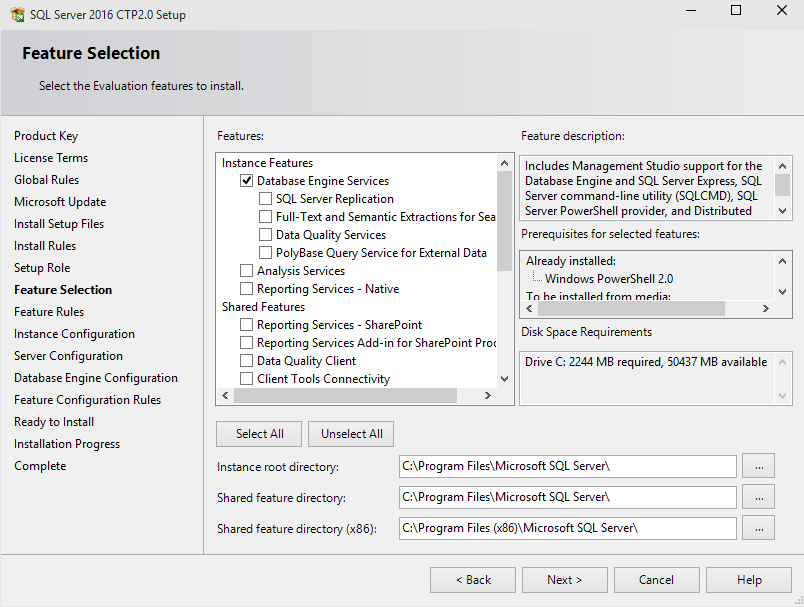 SQL Server 2016 feature selection for installation
