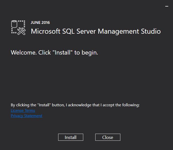 SQL Server 2016 Management Studio (SSMS) installation