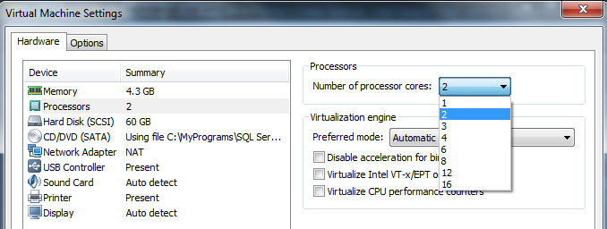 number of processor cores in virtual machine settings