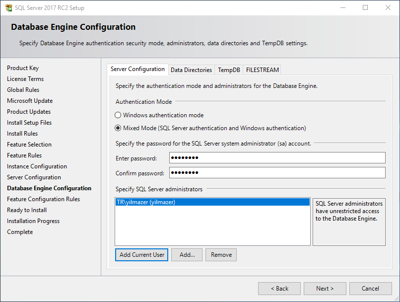 SQL Server 2017 authentication mode and system administrators