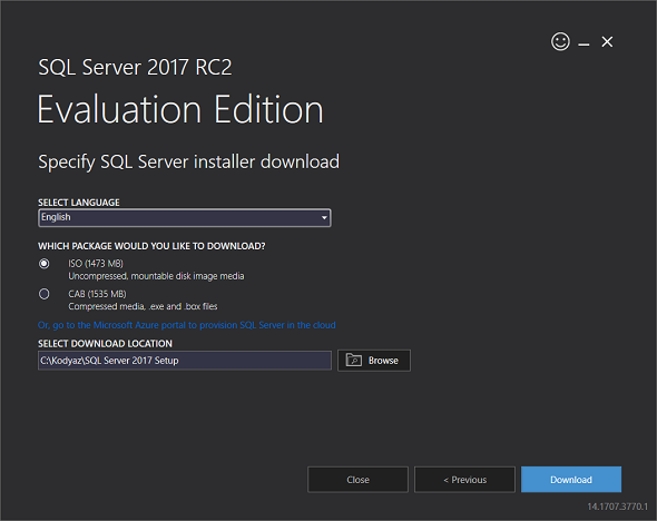 download SQL Server 2017 in ISO format free trial