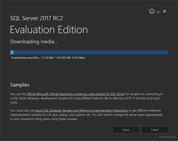 downloading SQL Server 2017 free evaluation edition