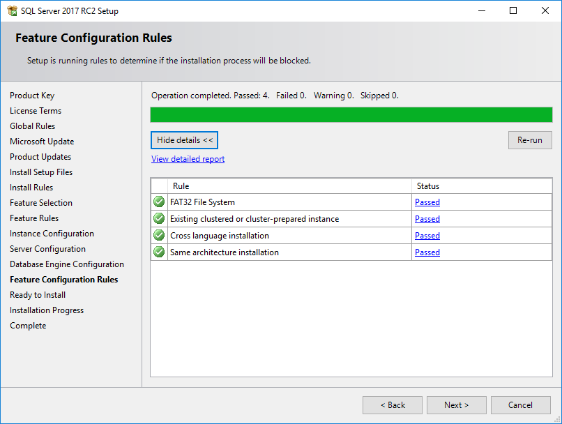 SQL Server 2017 Feature Configuration Rules