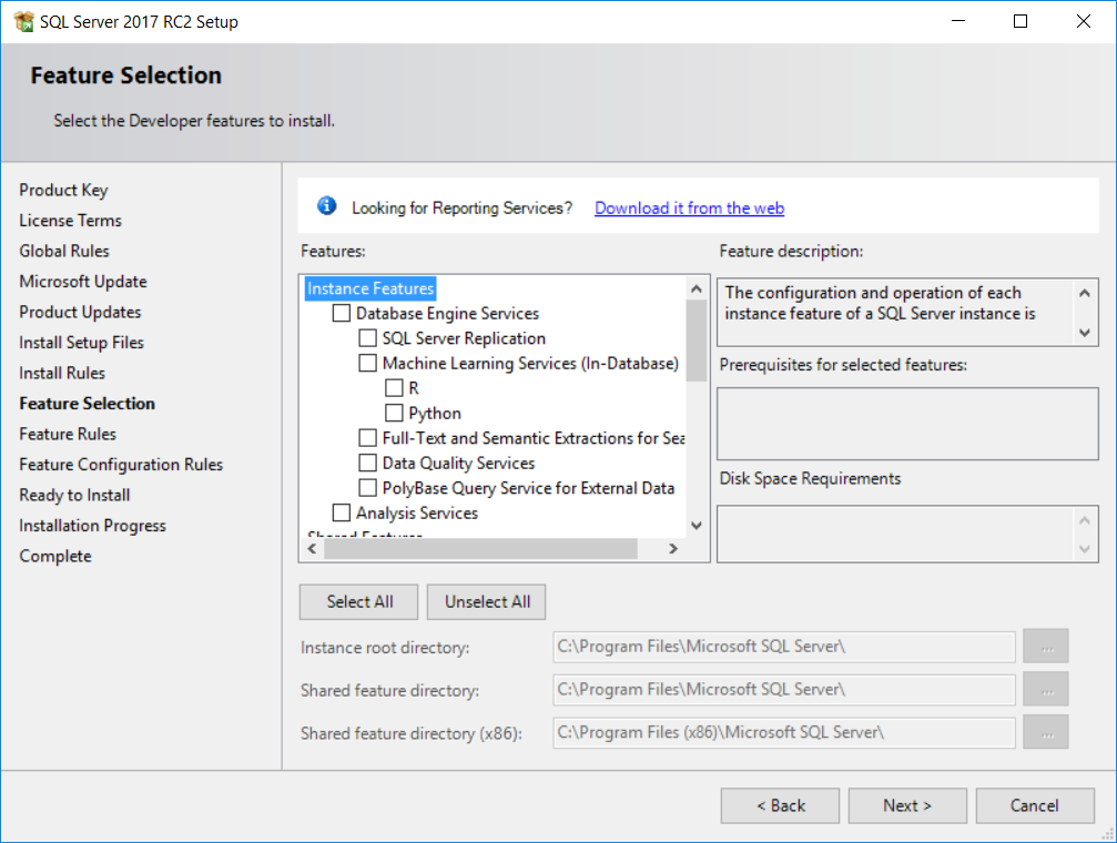 SQL Server 2017 feature selection for setup