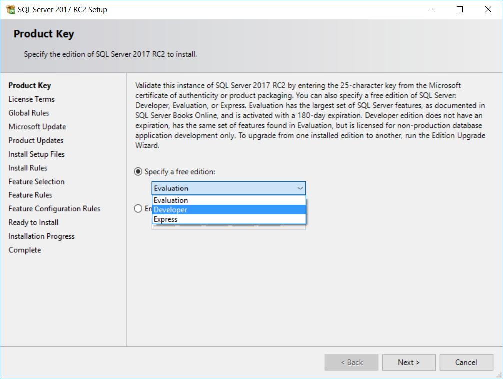 install SQL Server 2017 Deveoper Edition