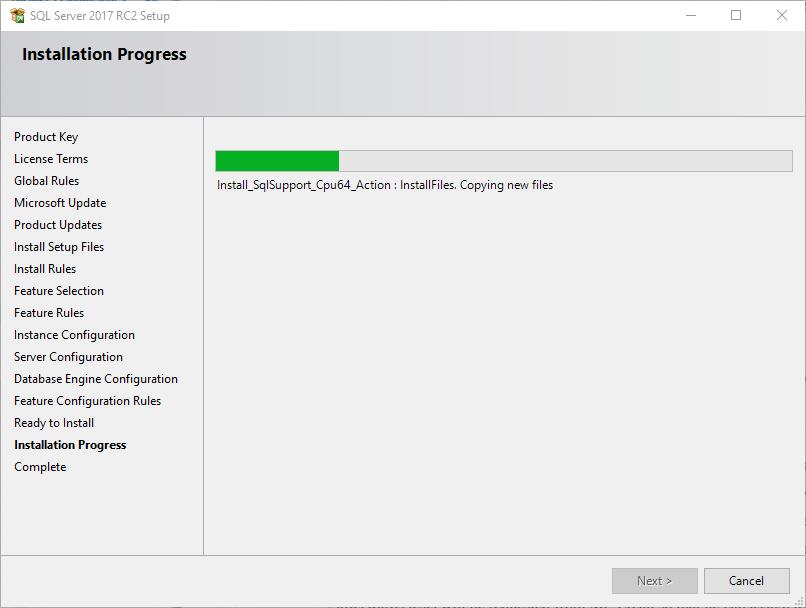installing SQL Server 2017 using SQL Server installer