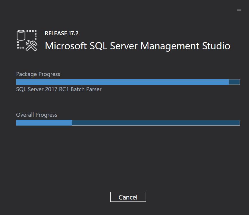 Installing SQL Server Management Studio 17.2