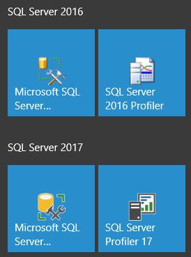 SQL Server 2017 and SQL Server 2016 icons