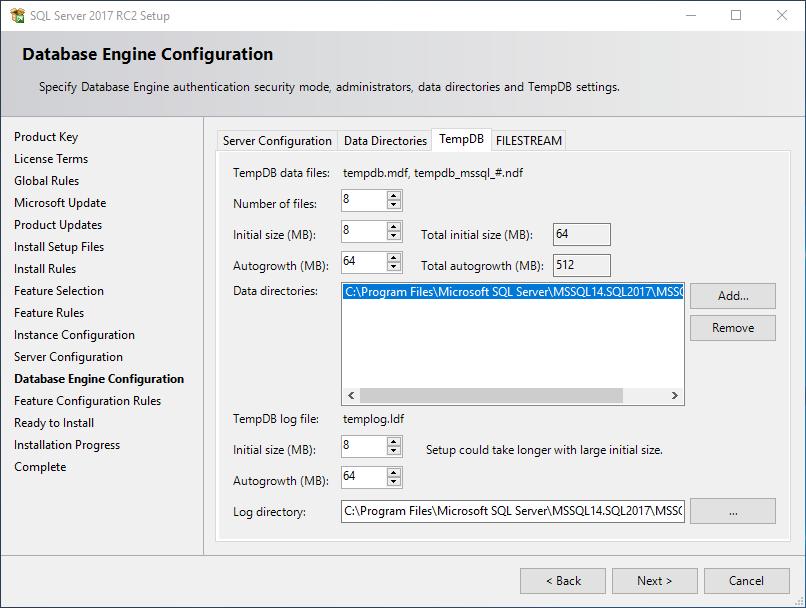 SQL Server 2017 TempDB configuration