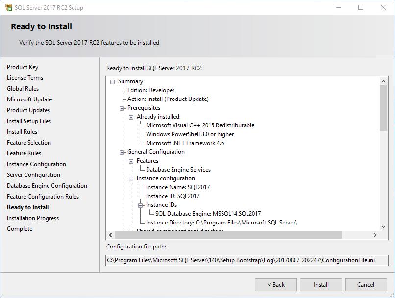 ready to install SQL Server 2017