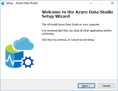 Azure Data Studio Setup Wizard for SQL Server 2019
